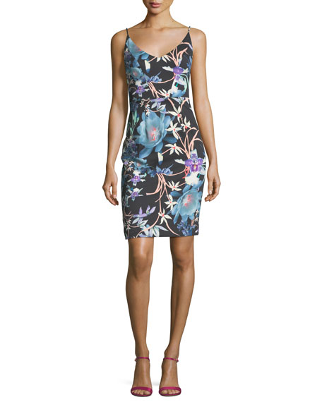 Jevette Floral-Print Sleeveless V-Neck Cocktail Dress