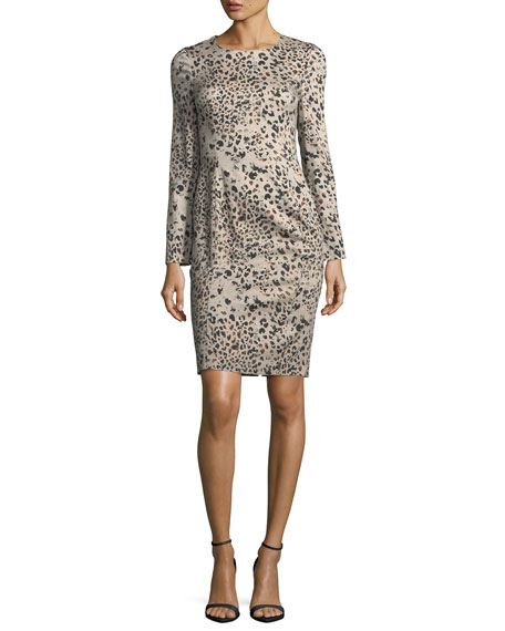 Black Halo Lively Long-Sleeve Animal-Print Dress