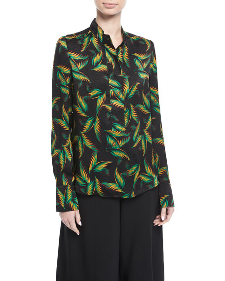 Gosford Button-Front Printed Silk Top
