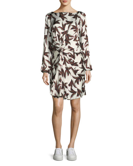 A.L.C. Freja Twist-Front Printed Silk Dress