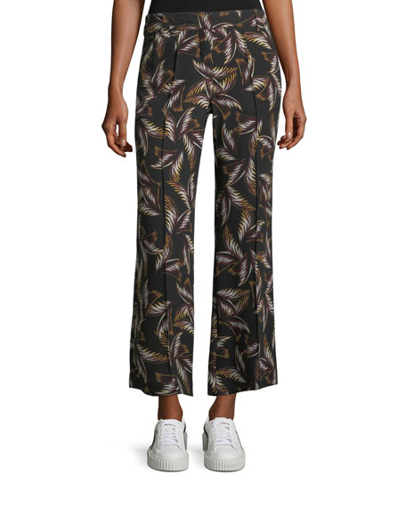 A.L.C. Felix Wide-Leg Printed Silk Ankle Pants