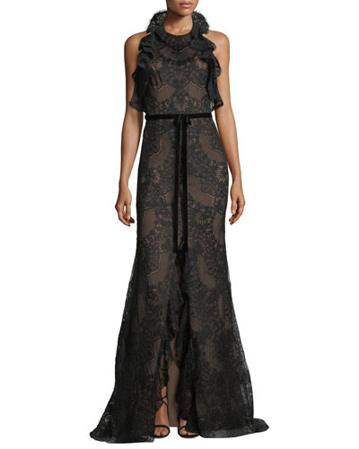 Ruffled Lace Halter-Neck Gown