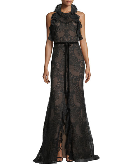 Marchesa Notte Ruffled Lace Halter-Neck Gown