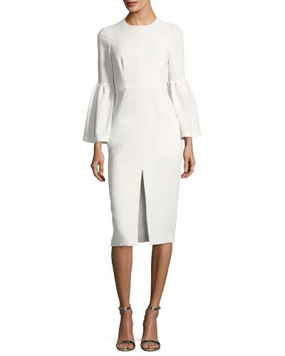Trumpet-Sleeve Front-Slit Dress