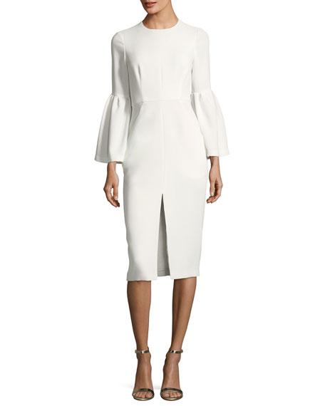 Jill Jill Stuart Trumpet-Sleeve Front-Slit Dress