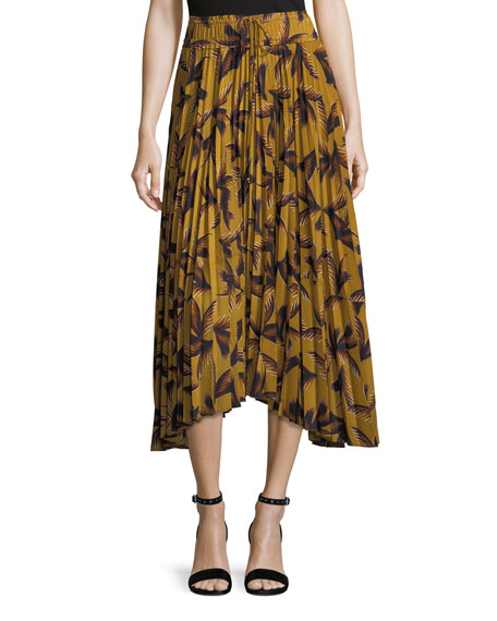 A.L.C. Maya Printed Pleated A-Line Midi Skirt