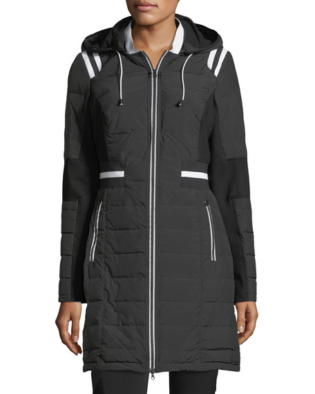 Blanc Noir Stadium Hooded Zip-front Puffer Jacket