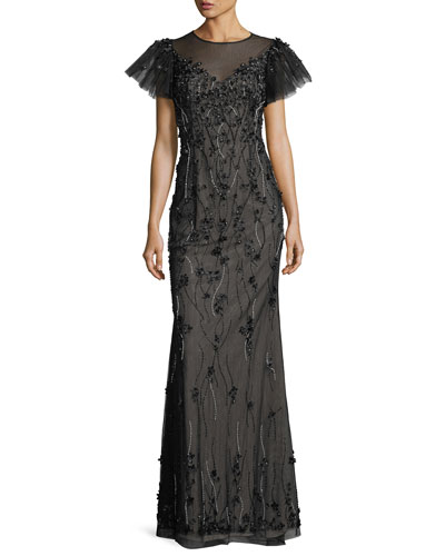 Embellished Puff-Sleeve Column Gown