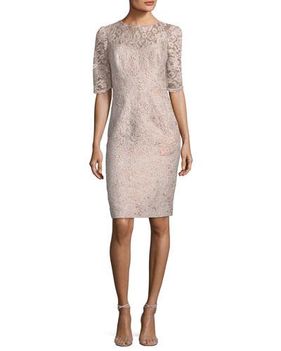 Lace Illusion Half-Sleeve Cocktail Dress