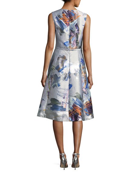 Sleeveless Floral-Print Taffeta Cocktail Dress
