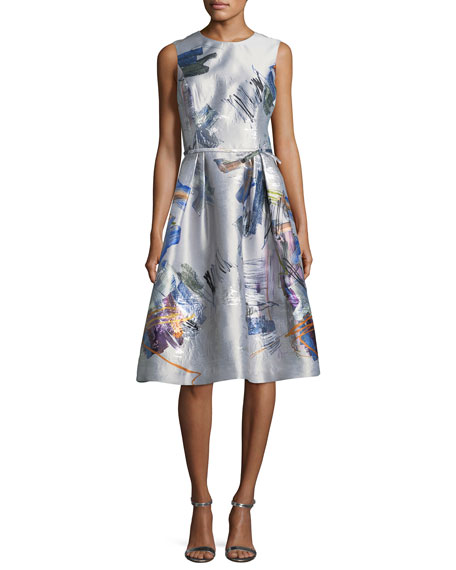 Rickie Freeman for Teri Jon Sleeveless Floral-Print Taffeta