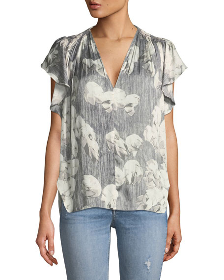 Halston Heritage Printed V-Neck Top w/ Ruching and
