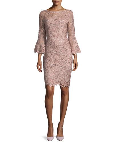 Lace Trumpet-Sleeve Sheath Cocktail Dress