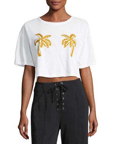 Teagan Palm-Embroidered Crop Cotton Tee