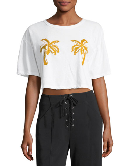 A.L.C. Teagan Palm-Embroidered Crop Cotton Tee