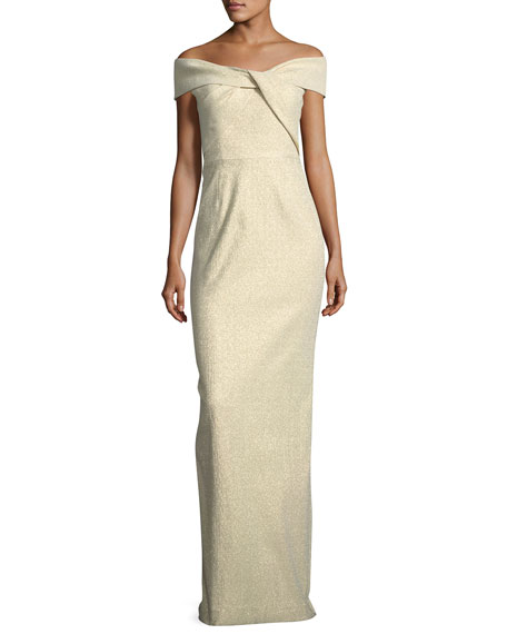 Off-the-Shoulder Metallic Jacquard Gown