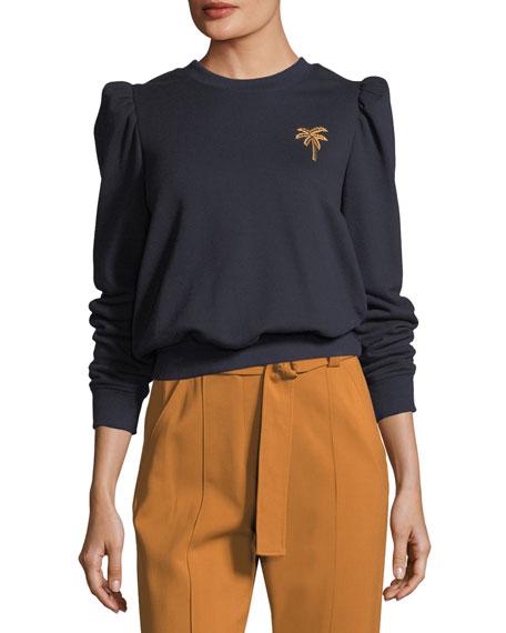 Prescott Crewneck Sweatshirt with Mini Palm Embroidery