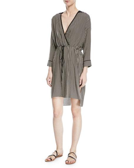 Stripe-Print V-Neck Self-Tie Kaftan Dress
