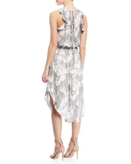 Sleeveless Printed Ruched Midi Dress