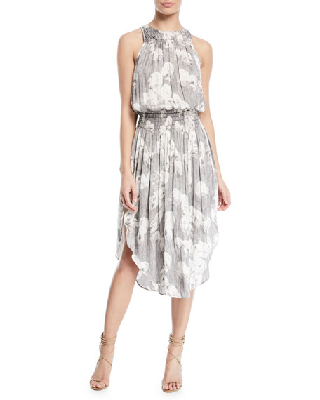 Halston Heritage Sleeveless Printed Ruched Midi Dress
