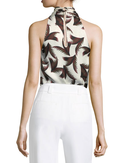 Leda Printed Silk Halter Top