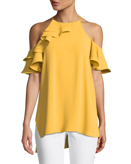 Halston Heritage Asymmetric Cold-Shoulder Flounce Top