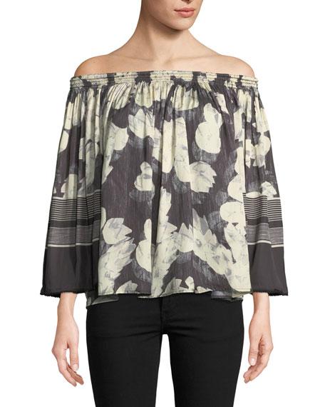 Off-the-Shoulder Floral-Print Flowy Top