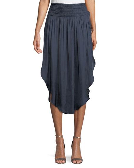 Halston Heritage Ruched-Waist Flowy Midi Skirt