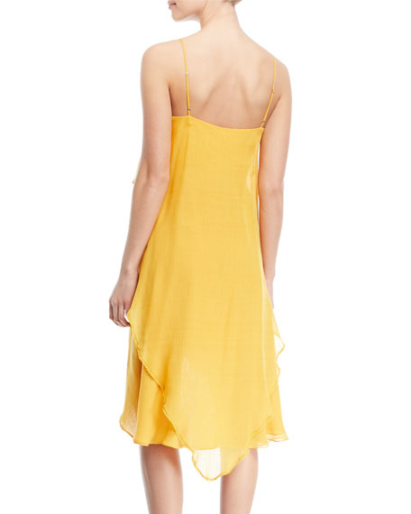 Flowy Layered-Flounce Sleeveless Dress