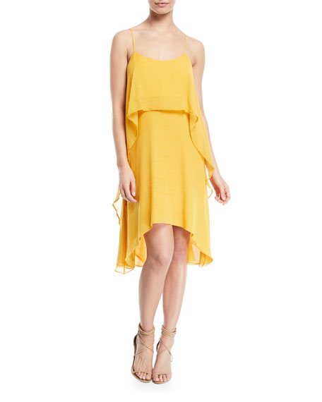 Halston Heritage Woman Cold-shoulder Layered Crepe Top Yellow Size 8 Halston Heritage Discount 2018 Newest V4wGLg4yA