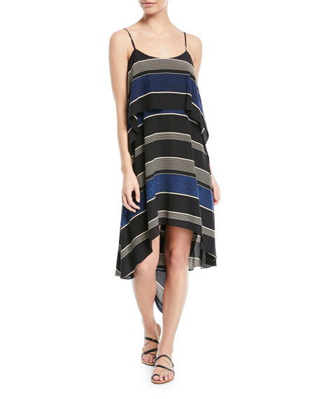 Halston Heritage Stripe-Printed Layered Flounce Sleeveless Dress