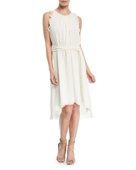 Halston Heritage Self-Tie High-Low Sleeveless Dress