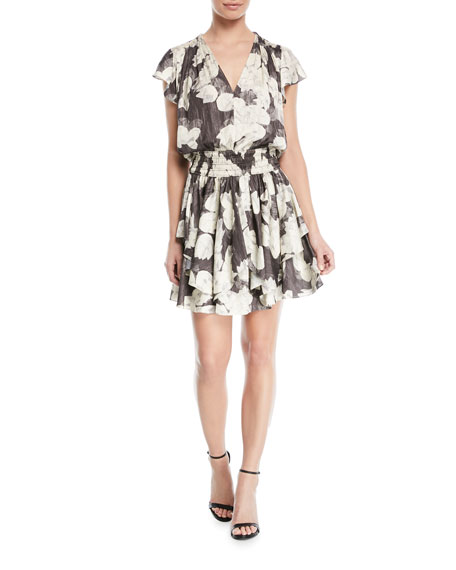 V Neck Ruched Waist Mini Dress by Halston Heritage