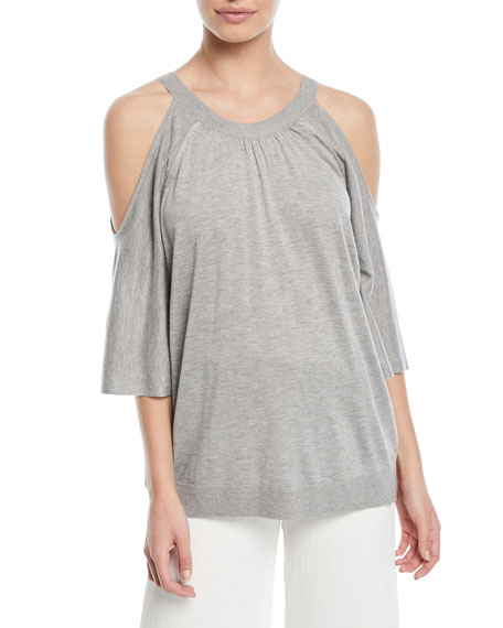 Halston Heritage Cold-Shoulder Button-Back Sweater