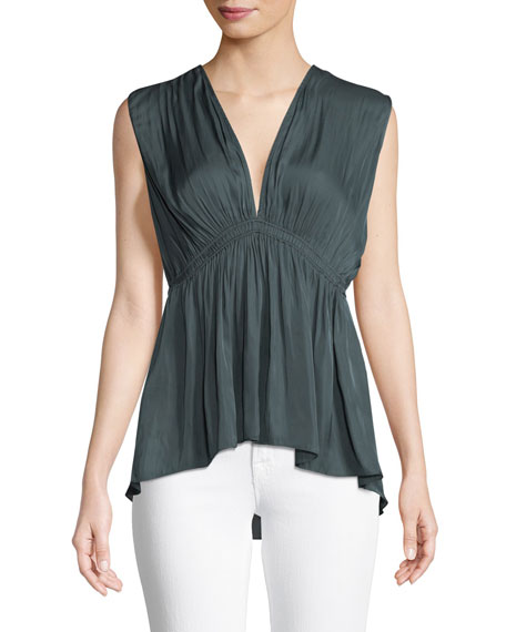 Flowy V-Neck Top w/ Ruched Waist