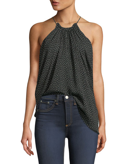 Dot-Print Ruched-Neck Flowy Silk Camisole