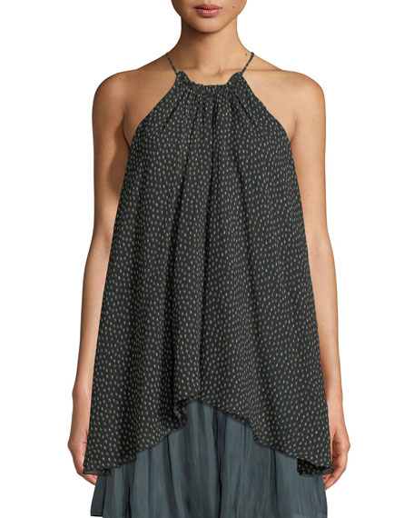Halston Heritage Dot-Print Ruched-Neck Silk Camisole and Matching