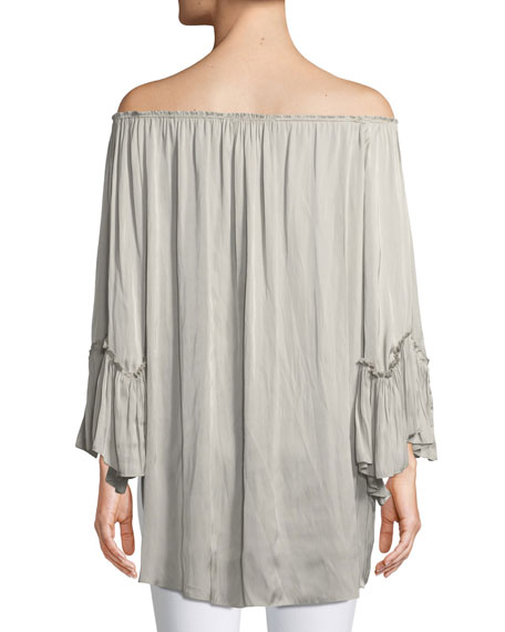 Off-the-Shoulder Ruched Blouse