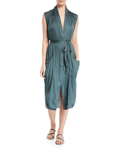 Self-Tie Shirt Dress w/ Pockets