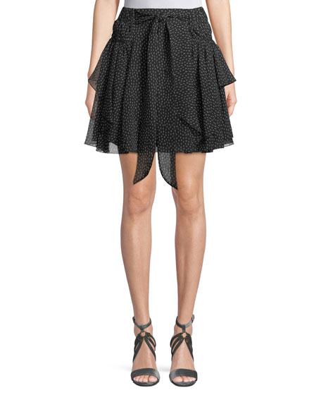 Halston Heritage Ruched-Waist Dot-Print Silk Flounce Skirt