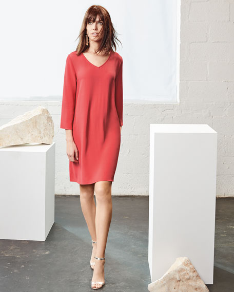 Crinkle-Knit Long-Sleeve Shift Dress