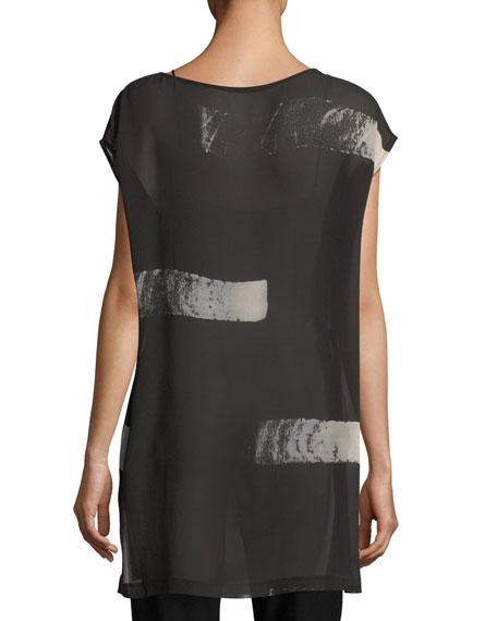 Artisanal Brushstroke Sheer Silk Tunic
