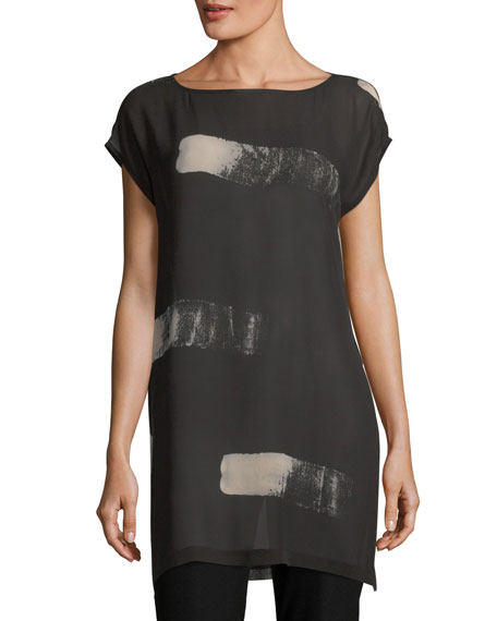 Eileen Fisher Artisanal Brushstroke Sheer Silk Tunic