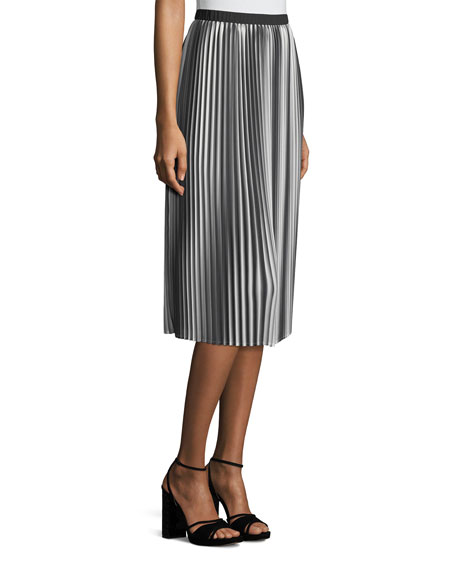 Ombre Pleated Midi Skirt, Plus Size