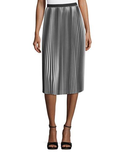 Ombre Pleated Midi Skirt, Petite