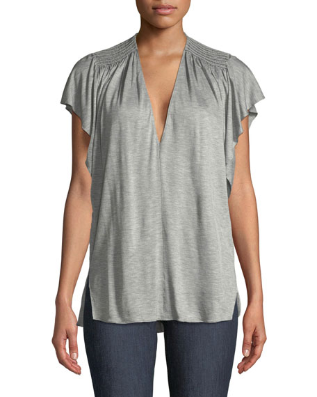 Halston Heritage Ruched-Shoulder V-Neck Top