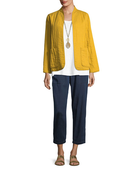 Quilted Linen Slub High-Collar Jacket, Plus Size