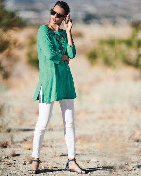3/4-Sleeve Organic Linen Jersey Tunic, Plus Size