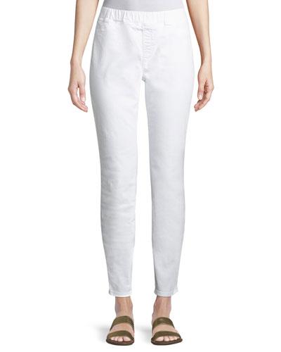 Organic Cotton Stretch-Denim Leggings, Petite