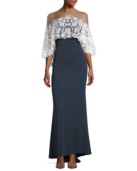 Lace Ruffle Overlay Illusion Gown